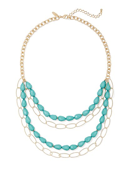 Faux-Turquoise Layered Link Necklace - New York & Company