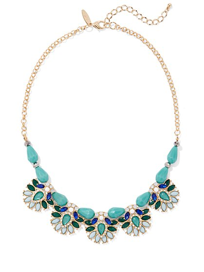 Faux-Turquoise Statement Necklace - New York & Company