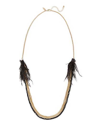 Feather-Accent Beaded Layered Necklace - New York & Company