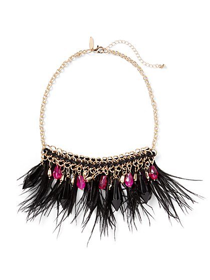Feather & Faux-Stone Statement Necklace - New York & Company
