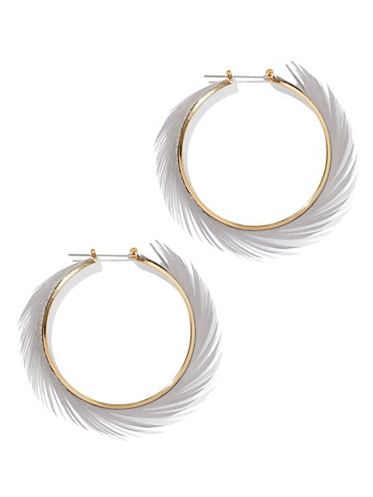 Feather Hoop Earring - New York & Company