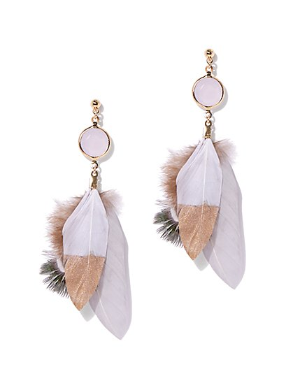 Feather Linear Drop Earring - New York & Company