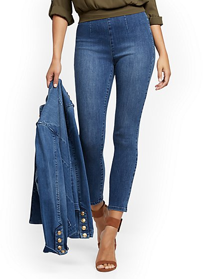 Feel-Good High-Waisted No Gap Pull-On Super-Skinny Ankle Jeans - Brilliant Blue - New York & Company
