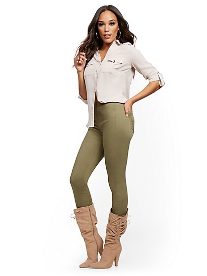 Feel-Good High-Waisted No Gap Pull-On Super-Skinny Ankle Jeans - Olive - New York & Company