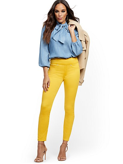 Feel-Good High-Waisted No Gap Pull-On Super-Skinny Ankle Jeans - Yellow - New York & Company