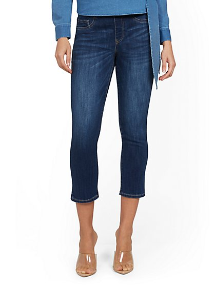 Feel-Good High-Waisted No Gap Pull-On Super-Skinny Capri Jeans - Norfolk Blue - New York & Company