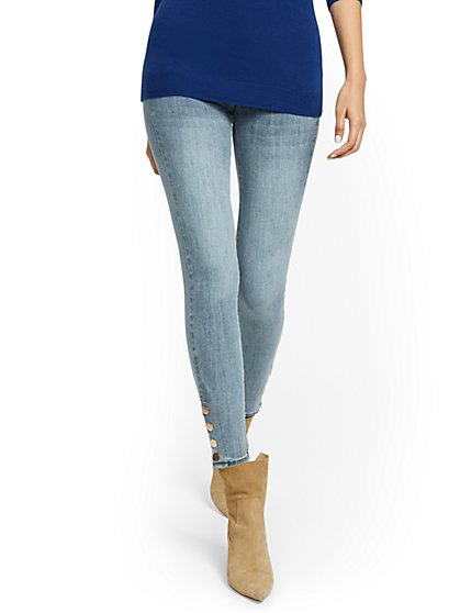 Feel Good High-Waisted No Gap Pull-On Super-Skinny Jeans - Blue Love - New York & Company