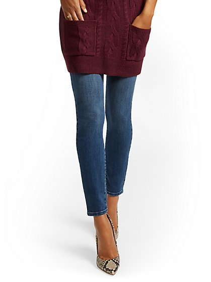 Feel Good High-Waisted No Gap Pull-On Super-Skinny Jeans - Brilliant Blue - New York & Company