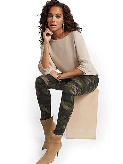 Feel Good High-Waisted No Gap Pull-On Super-Skinny Jeans - Camo - New York & Company
