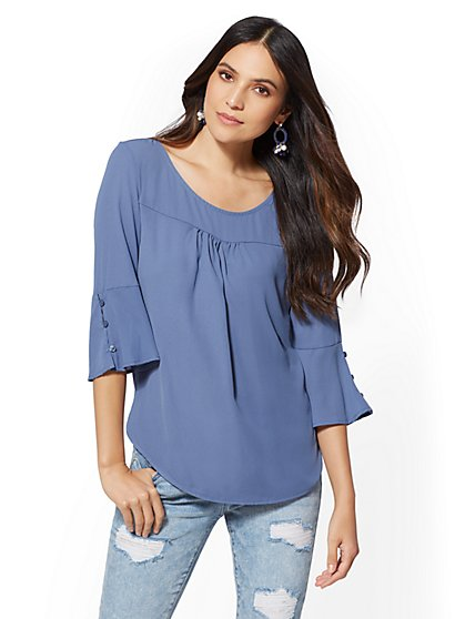 Flare-Cuff Scoopneck Top - New York & Company