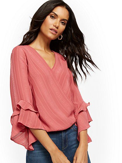 Flare-Sleeve V-Neck Wrap Blouse - New York & Company