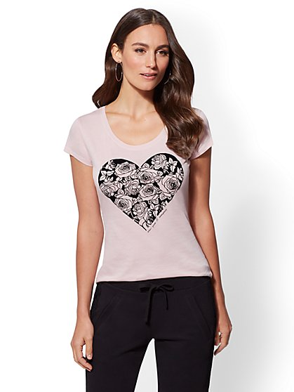 Flocked Floral Heart Graphic Logo Tee - New York & Company