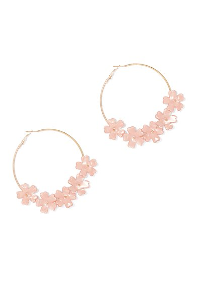 Floral-Accent Hoop Earring - New York & Company