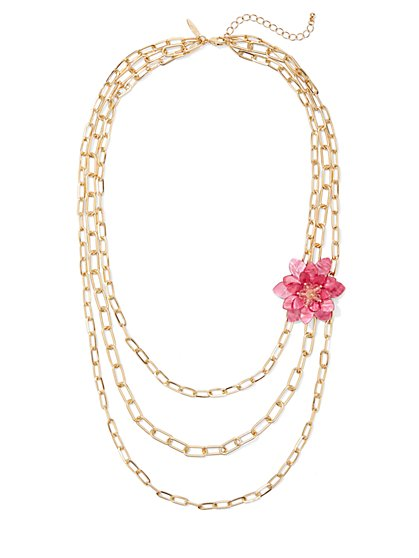 Floral-Accent Layered Link Necklace - New York & Company