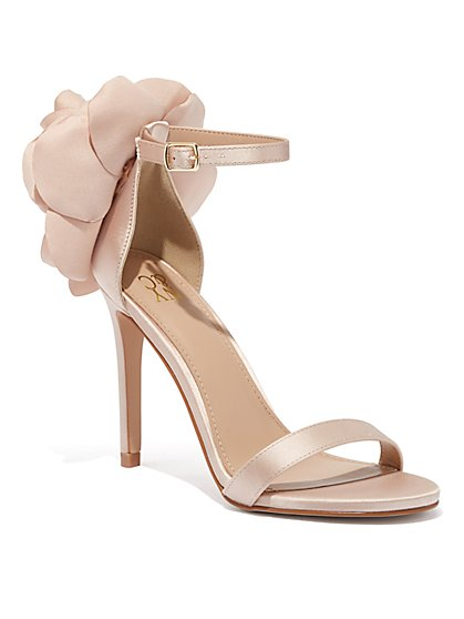 Floral-Accent Satin Sandal - New York & Company