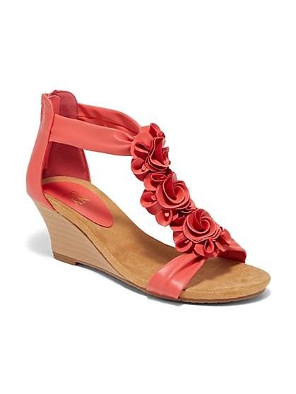 Floral Ankle Wedge Sandal - New York & Company