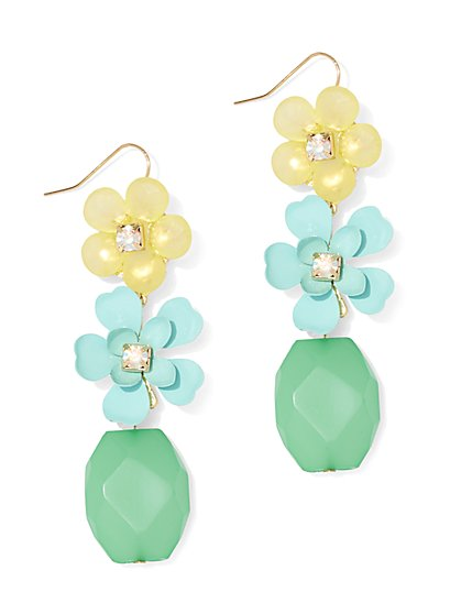 Floral & Beaded Drop Earring - New York & Company