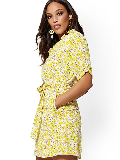 Floral Belted Shirtdress - New York & Company