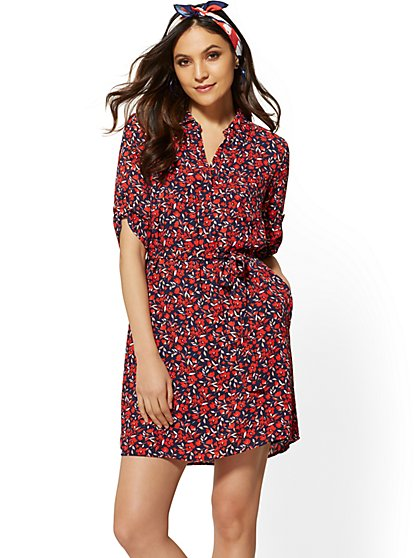 3245c805a3e Floral Belted Shirtdress - New York   Company ...