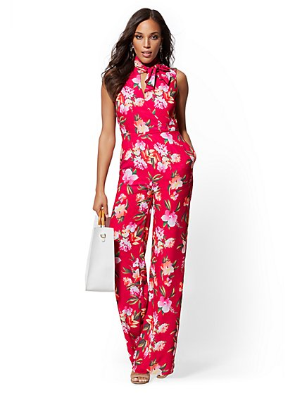 0d0bc092ad1 Floral Bow-Accent Wrap Jumpsuit - New York   Company ...