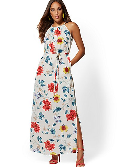 Floral Braided-Trim Halter Maxi Dress - New York & Company