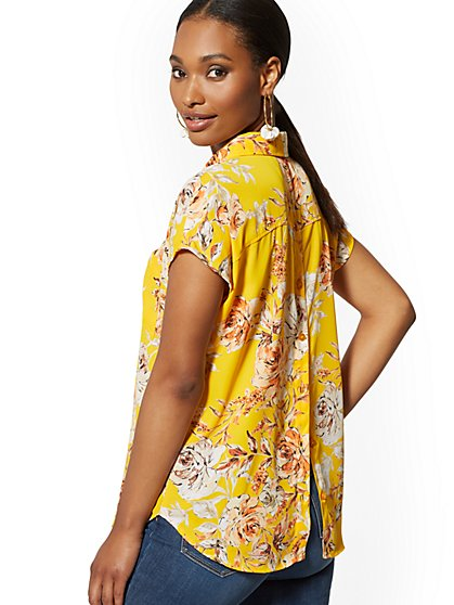Floral Button-Back Blouse - Soho Soft Blouse - New York & Company