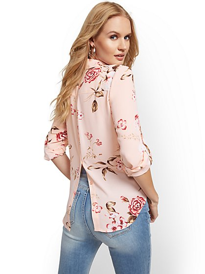 Floral Button-Back Shirt - Soho Soft Blouse - New York & Company