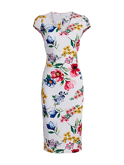 Floral Cap-Sleeve Sheath Dress - New York & Company