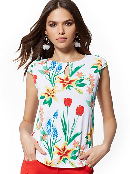 Floral Cap-Sleeve Top - 7th Avenue - New York & Company