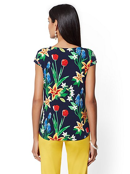 31d1f2b9634b29 ... Floral Cap-Sleeve Top - 7th Avenue - New York   Company ...