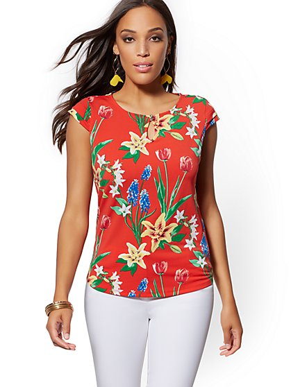 5a5637758878f Floral Cap-Sleeve Top - 7th Avenue - New York   Company ...