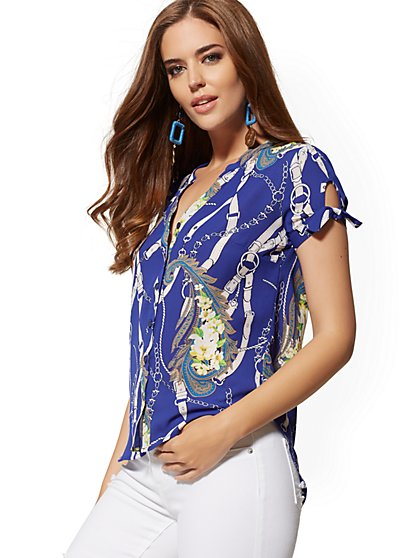 Floral & Chain-Link Print Tie-Sleeve Blouse - Soho Soft Shirt - New York & Company