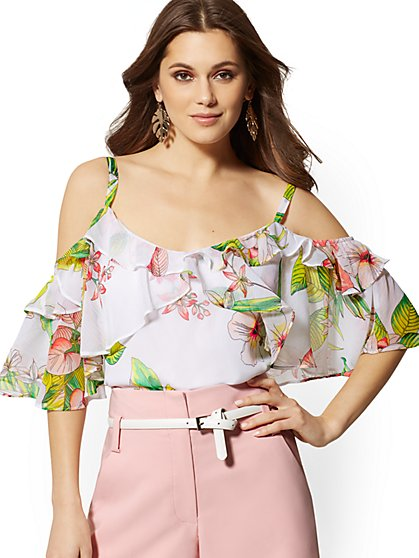 94b17c73f04e25 Floral Cold-Shoulder Blouse - New York   Company ...