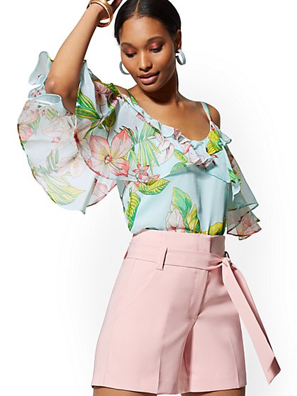 Floral Cold-Shoulder Blouse - New York & Company