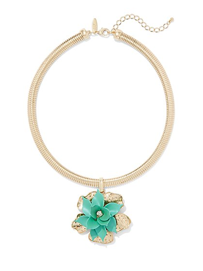 Floral Collar Pendant Necklace - New York & Company