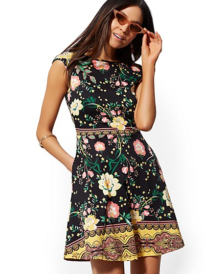 Floral Cotton Flare Dress - New York & Company