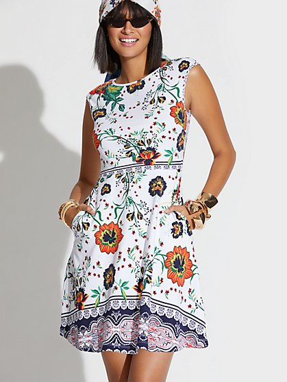 1cae7254f3 Floral Cotton Flare Dress - New York   Company