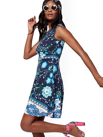 Floral Cotton Flare Dress - New York   Company 41ca4afda