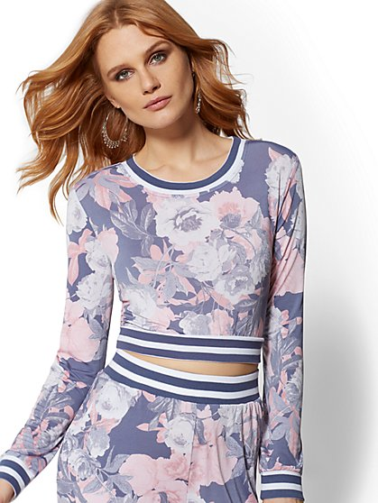 Floral Crop Sweatshirt - Soho Street - New York & Company