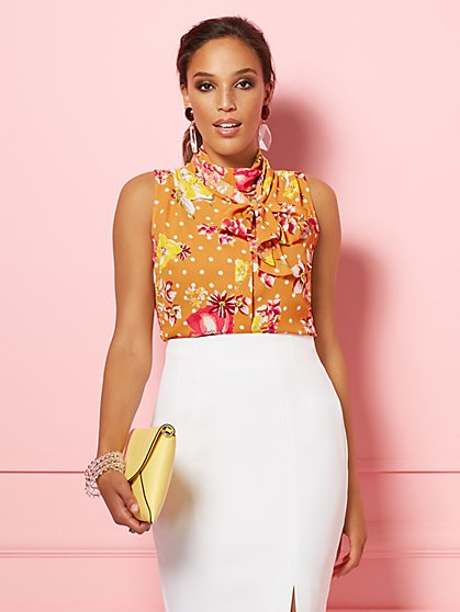 Floral & Dot Print Isabella Bow Blouse - Eva Mendes Party Collection - New York & Company