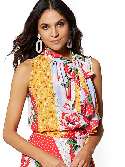 Floral & Dot-Print Ruffled Tie-Front Top - 7th Avenue - New York & Company