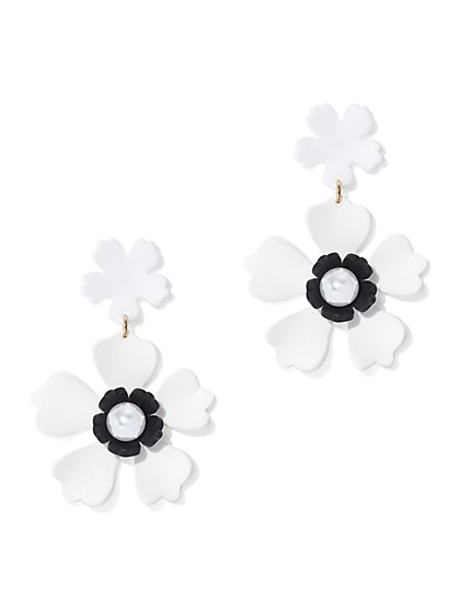 Floral Faux-Pearl Drop Earring - New York & Company
