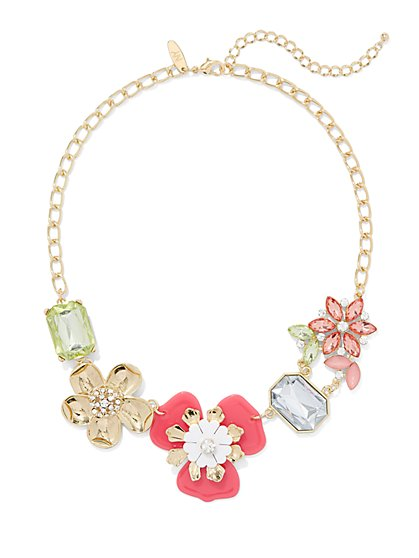 Floral & Faux-Stone Statement Necklace - New York & Company