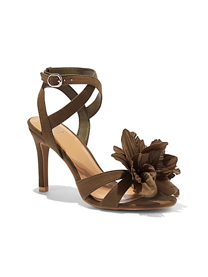 Floral Faux-Suede Sandal - New York & Company
