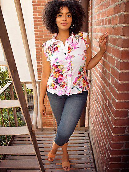 Floral Flounced-Hem Blouse - New York & Company