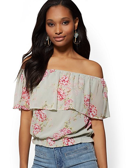Floral Flounced Off-The-Shoulder Top - New York & Company