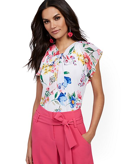 Floral Flutter-Sleeve Tie-Front Top - New York & Company