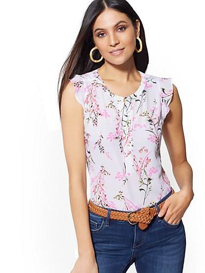 cb98b9a1ec7614 Floral Flutter-Sleeve Top - Soho Soft Shirt - New York   Company ...