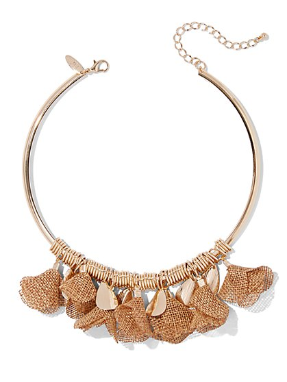 Floral Goldtone Collar Necklace - New York & Company