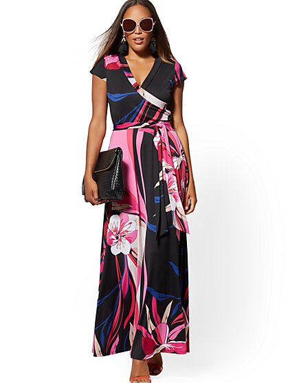 Floral & Graphic-Print Wrap Maxi Dress - New York & Company